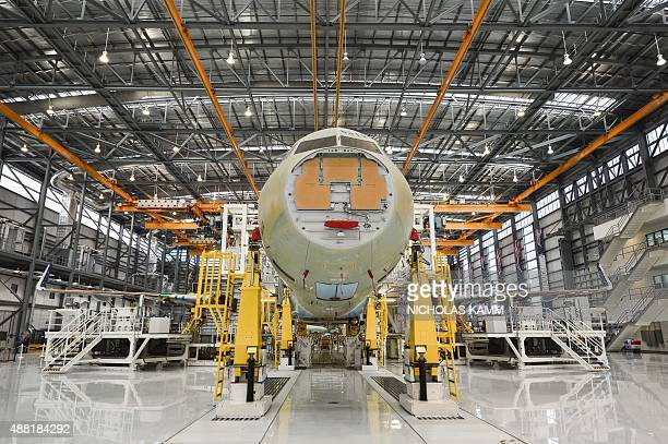 The nose of an Airbus A321 is seen on the eve of the inauguration of Airbus' first US manufacturing facility in Mobile Alabama on September 13 2015...