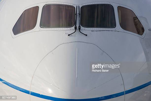 The nose of the Boeing-manufactured 787 Dreamliner at the Farnborough Airshow. On its first flight outside of the US during its testing programme,...