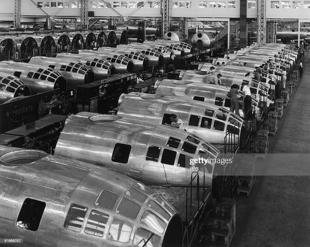 The nose sections of American B.29 Superfortress bombers under construction at the Boeing plant in Wichita, Kansas, October 1944. The aircraft were later used to drop the atomic bombs, which destroyed the Japanese cities of Hiroshima and Nagasaki.