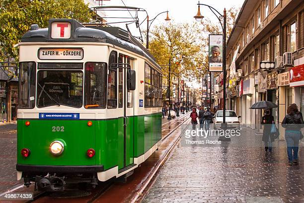 The nostalgic tram on Cumhuriet Cadessi a street in Bursa, the fourth largest city in Turkey.