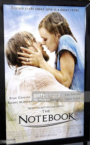 The Notebook movie poster during The Notebook New Line Cinema Los Angeles Premiere at Mann Village Theatre in Westwood California United States