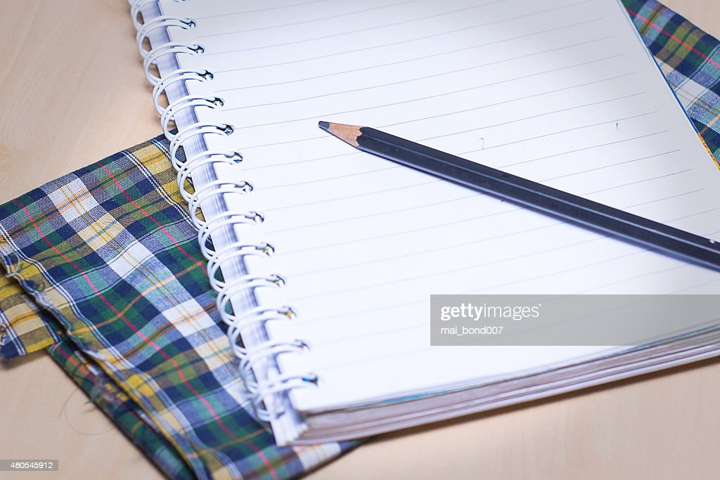 the notebook page for the writing : Stock Photo