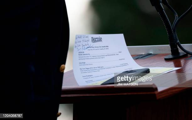 The notes of Democratic party White House hopeful Vermont Senator Bernie Sanders are seen on the podium while he speaks at a rally in Columbia South...