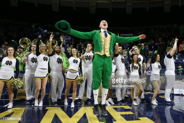 The Notre Dame cheerleaders sing the school alma mater at the conclusion of the NCAA Division I Women's Championship second round basketball game...