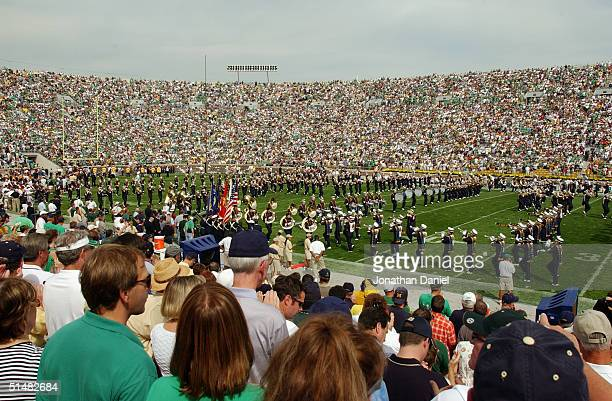 The Notre Dame Fighting Irish band performs during a game with the Michigan Wolverines on September 11, 2004 at Notre Dame Stadium in South Bend,...