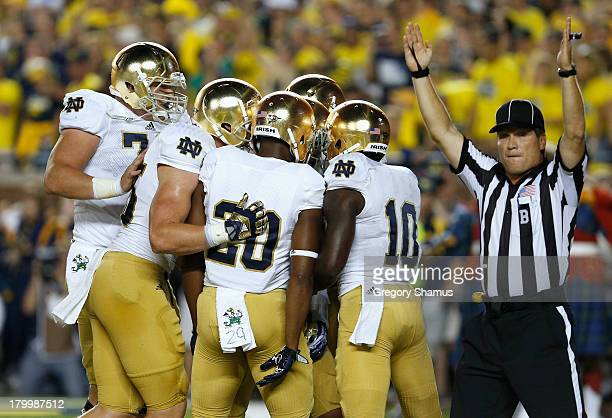 The Notre Dame Fighting Irish celebrate a touchdown by TJ Jones in the first quarter during the game against the Michigan Wolverines at Michigan...