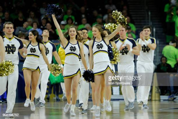 The Notre Dame Fighting Irish Cheerleaders perform during the game between the Clemson Tigers and Notre Dame Fighting Irish on January 21 at Purcell...