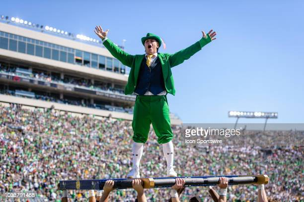 The Notre Dame Fighting Irish leprechaun celebrates a Notre Dame touchdown in the 1st quarter during a college football game between the Vanderbilt...