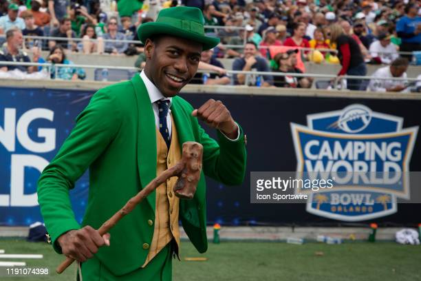 The Notre Dame Fighting Irish Leprechaun during the game between Notre Dame Fighting Irish and Iowa State Cyclones on December 28 2019 at Camping...