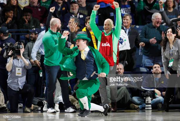The Notre Dame Fighting Irish leprechaun mascot reacts after rolling in a 90-foot putt during a timeout promotion for the 2019 U.S. Senior Open in...