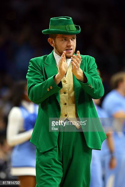 The Notre Dame Fighting Irish mascot Leprechaun reacts prior to the game against the North Carolina Tar Heels during the 2016 NCAA Men's Basketball...