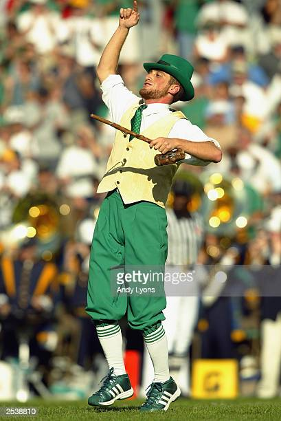 The Notre Dame Fighting Irish mascot runs points walks the field against the Washington State Cougars on September 6, 2003 at Notre Dame Stadium in...