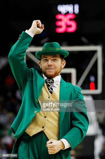 The Notre Dame Fighting Irish mascot the Notre Dame Leprechaun performs in the first half against the Northeastern Huskies during the second round of...