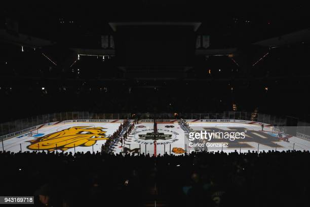 The Notre Dame Fighting Irish take on the University of Minnesota Duluth Bulldogs during the Division I Men's Ice Hockey Semifinals held at the Xcel...