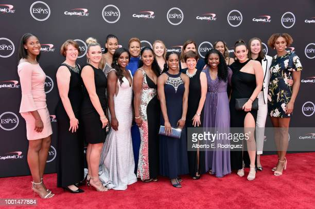 The Notre Dame women's basketball team attends The 2018 ESPYS at Microsoft Theater on July 18 2018 in Los Angeles California
