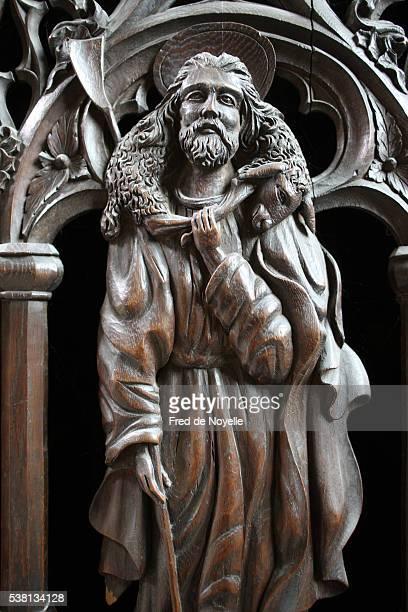 the notre-dame et saint-loup roman catholic church. jesus as a good shepherd - jesus the good shepherd stock pictures, royalty-free photos & images