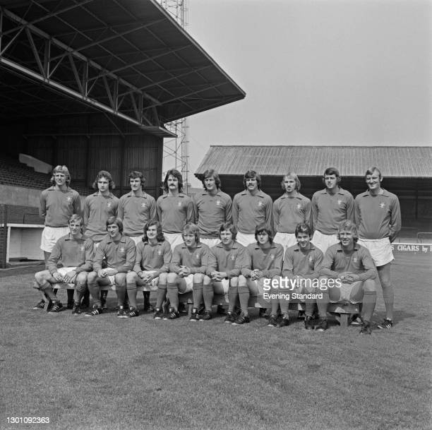 The Nottingham Forest FC football team, a League Division 2 team, at the start of the football season, UK, 1st August 1973. From left to right John...