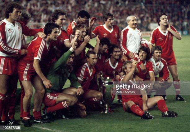The Nottingham Forest team with the European Cup after their 10 victory over SV Hamburg in the European Cup Final at the Bernabeu Stadium in Madrid...