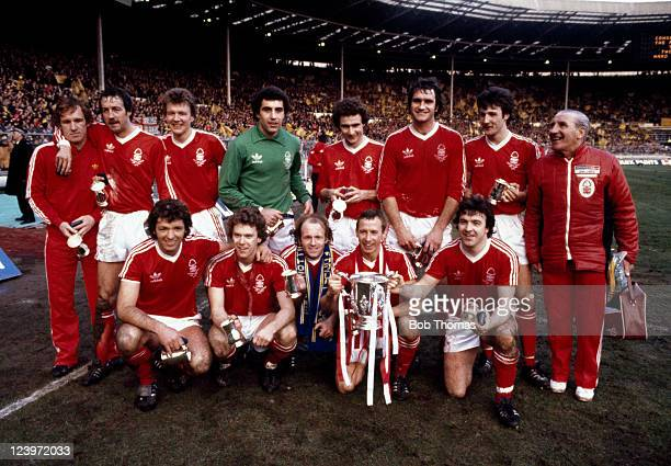The Nottingham Forest team with the trophy after their victory over Southampton in the League Cup Final at Wembley Stadium in London 17th March 1979...