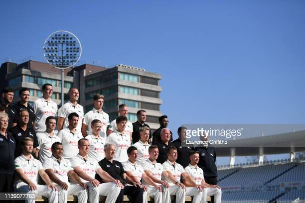 The Nottinghamshire CCC Team during the Nottinghamshire CCC Photocall at Trent Bridge on March 29 2019 in Nottingham England