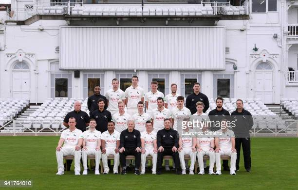 The Nottinghamshire County Cricket Club team group during the Nottinghamshire CCC Photocall at Trent Bridge on April 4 2018 in Nottingham England