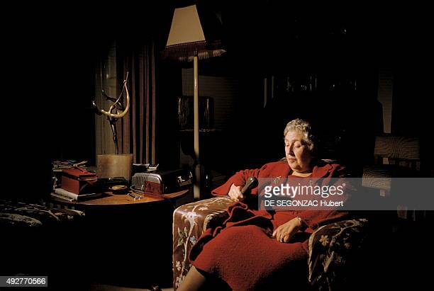 the novelist Agatha Christie poses at home on december 1956 in Wallingford United Kingdom