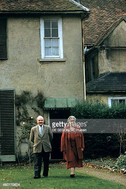 the novelist Agatha Christie with her husband Max EL Mallowan pose at home on december 1956 in Wallingford United Kingdom