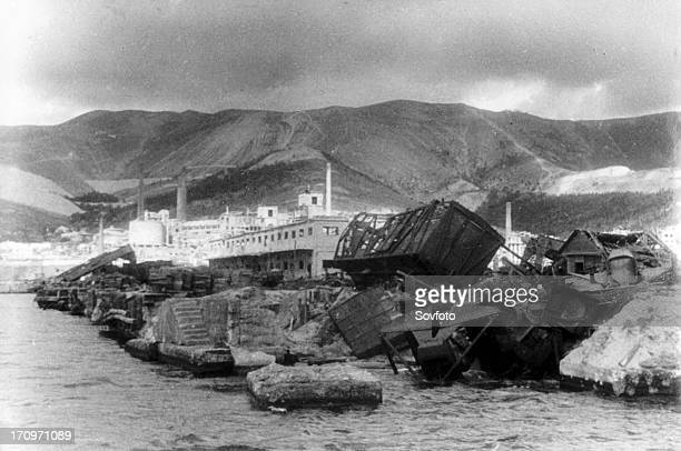 The novorossisk port demolished by the german fascist barbarians krasnodar region northern caucasus 1943