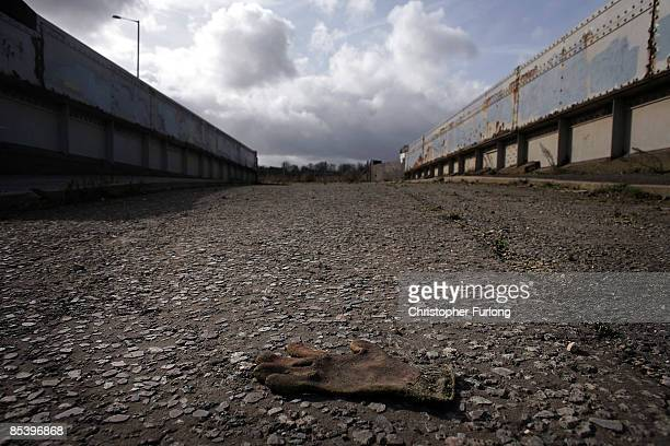 The now derelict and cordoned off Handsworth railway bridge where thousands of miners marched across to the Orgreave coking plant and open cast coal...
