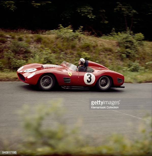The Nürburgring 1000km. Race; Nürburgring, June 7, 1959. Jean Behra with his Ferrari 250TR/59 at Brünchen on his way to a third place finish,...
