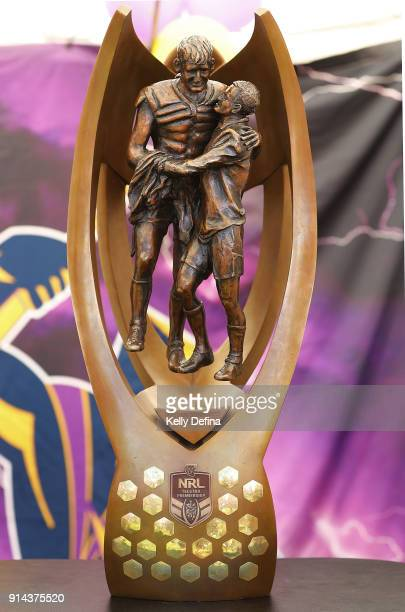The NRL premiership trophy on display during the Melbourne Storm Family Day on February 3 2018 in Melbourne Australia