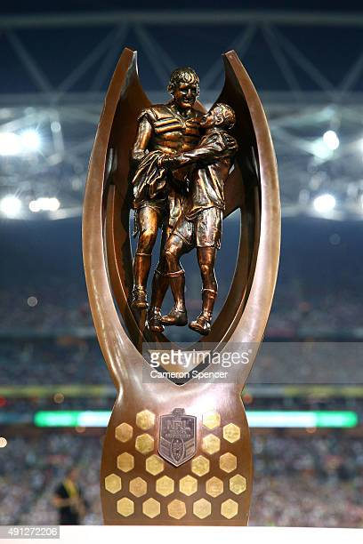 The NRL Premiership tropy is seen before the 2015 NRL Grand Final match between the Brisbane Broncos and the North Queensland Cowboys at ANZ Stadium...