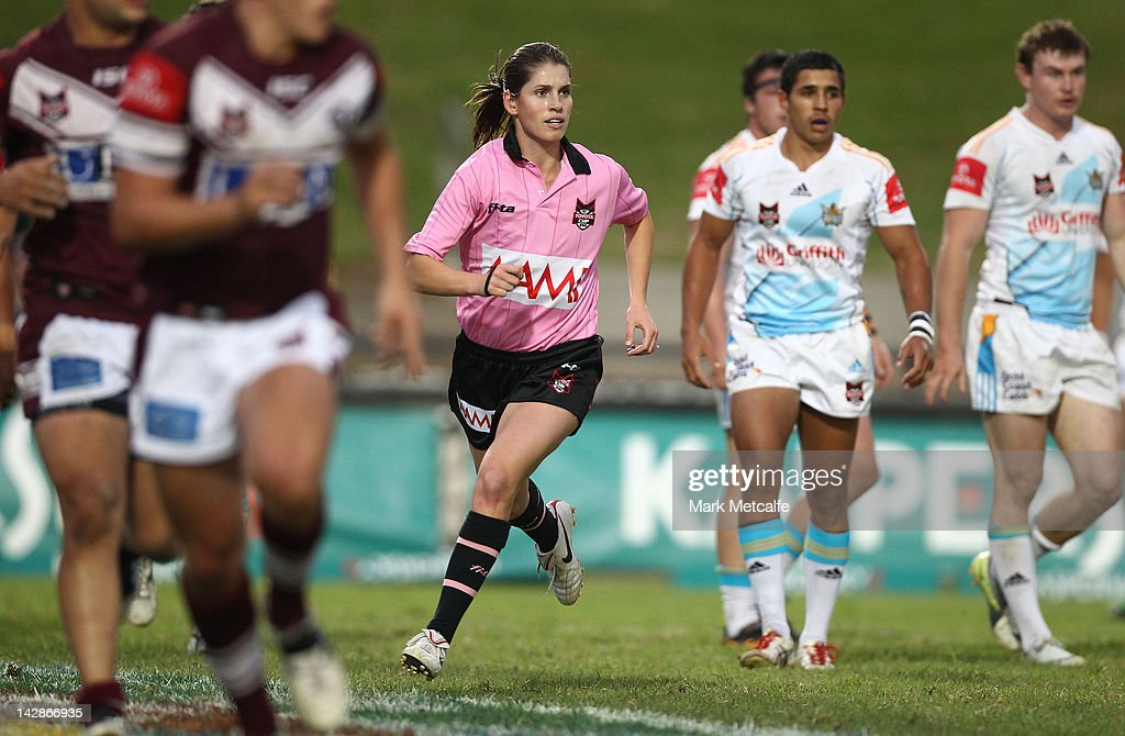 The NRL's first female referee Kasey Badger in action during the round seven Toyota Cup match between the Manly Sea Eagles and the Gold Coast Titans at Brookvale Oval on April 14, 2012 in Sydney, Australia.
