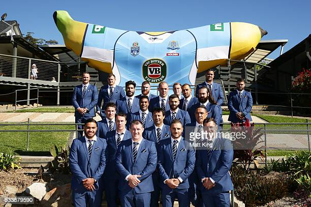 The NSW Blues pose in front of the Big Banana during a New South Wales Blues NRL State of Origin Welcome Session at The Big Banana on May 24 2016 in...