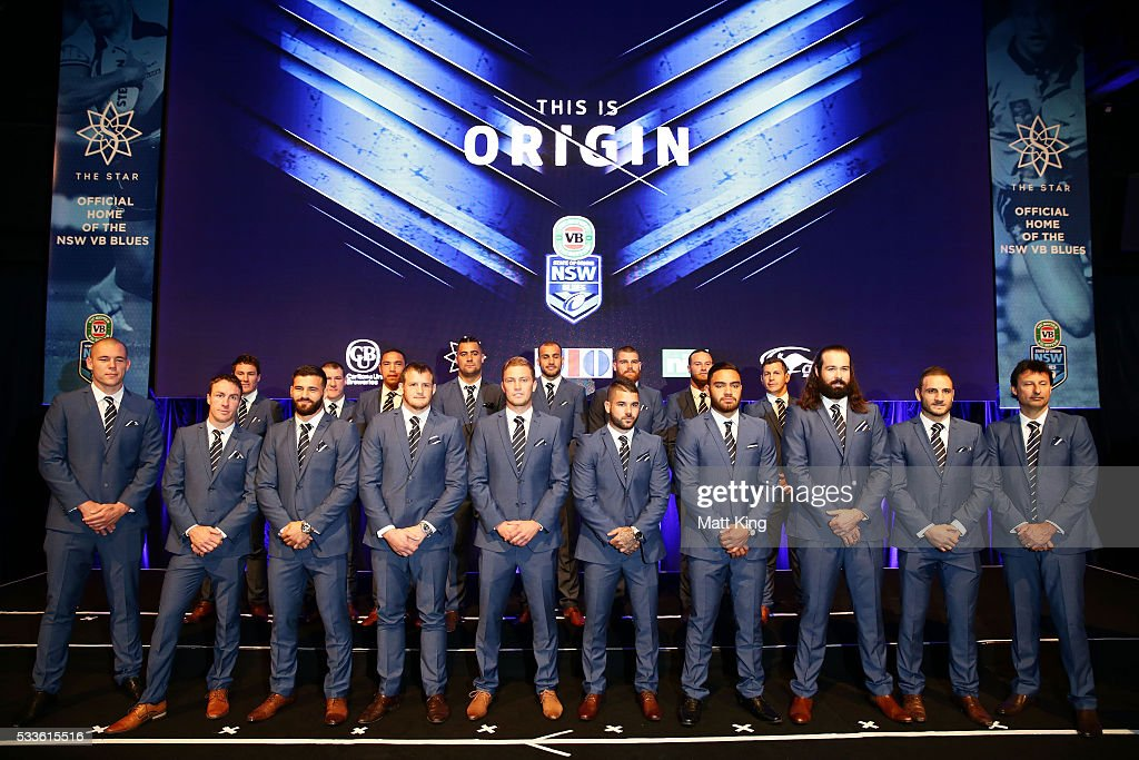 The NSW Blues State of Origin team lines up after being announced during the NSW Blues State of Origin team announcement at The Star on May 23, 2016 in Sydney, Australia.