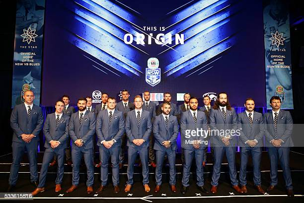 The NSW Blues State of Origin team lines up after being announced during the NSW Blues State of Origin team announcement at The Star on May 23 2016...