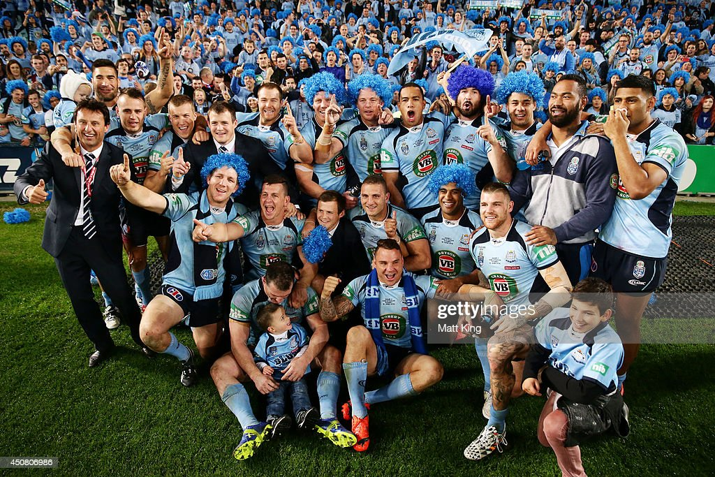 The NSW Bues pose for a team photo after victoryin game two of the State of Origin series between the New South Wales Blues and the Queensland Maroons at ANZ Stadium on June 18, 2014 in Sydney, Australia.