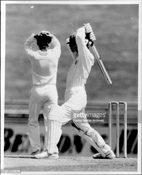 The NSW captain Dirk Wellham hides his head as centurymaker Andrew Hilditch puts on a samurai pose in yesterdays Shield game December 18 1986