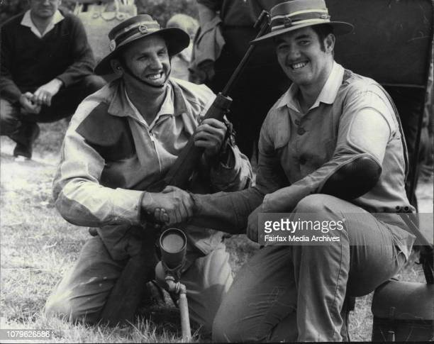 The NSW Champion of Champion Rifle Shoot at Anzac Rifle Range MalbarMr BJ Pride and Andrew Powell September 29 1971