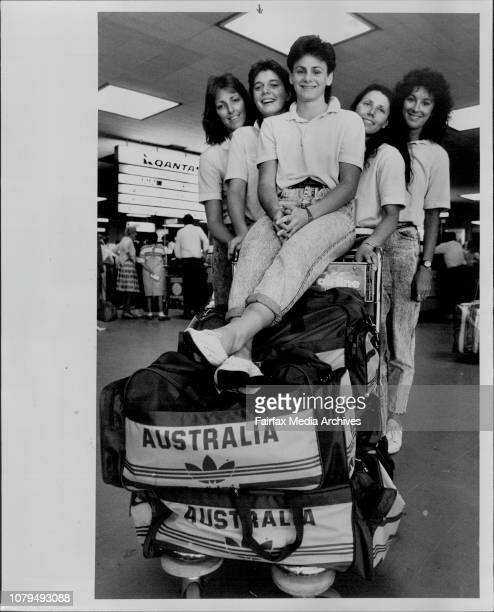 The NSW contingent of the Australian basketball team at Sydney Airport from left Karen Dalton Shelley Gorman Sandra Brondello Jenny Cheeseman and...