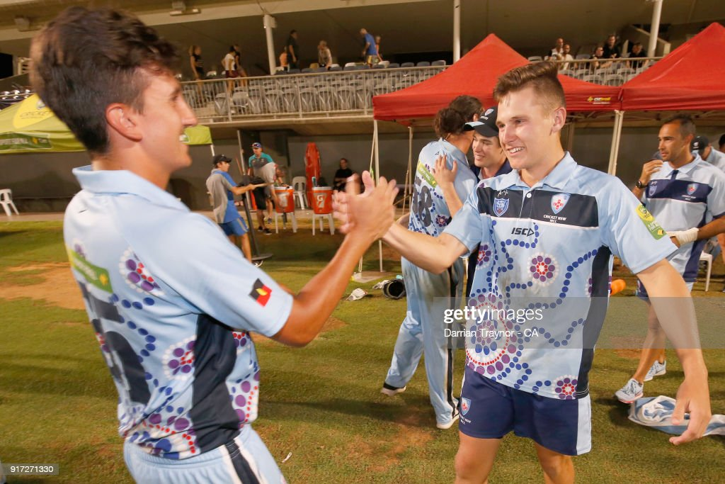 The N.S.W. mens team celebrate winning the final against Victoria during the 2018 Cricket Australia Indigenous Championships on February 12, 2018 in Alice Springs, Australia.