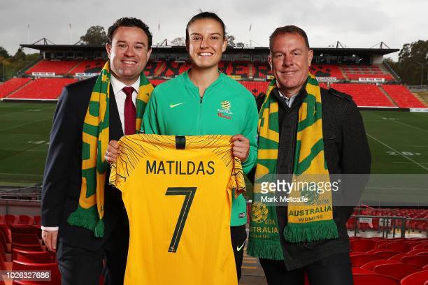 The NSW Minister for Sport Stuart Ayres Westfield Matildas Head Coach Alen Stajcic and Chloe Logarzo of the Matildas pose for a photo at Panthers...