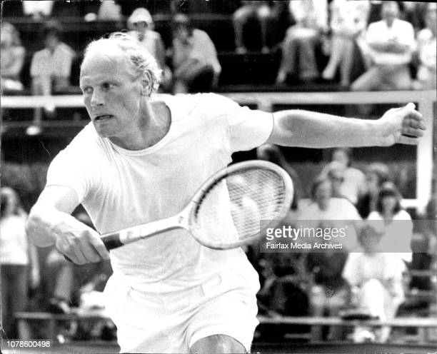 The NSW Open Tennis Championships At White City The loser Lennart Bergelin during his match with winner Frank Sedgman January 06 1974