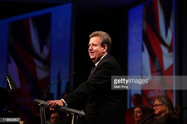 The NSW Premier Barry O'Farrell speaks during the Australian Olympic Committee Black Tie Dinner at the Sydney Convention Exhibition Centre on July 27...