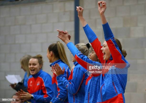 The NSW Waratahs bench celebrate winning the Australian Netball League third place playoff between the NSW Waratahs and Victoria Fury at the ACT...