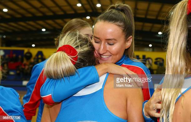 The NSW Waratahs celebrate after winning the Australian Netball League third place playoff between the NSW Waratahs and Victoria Fury at the ACT...