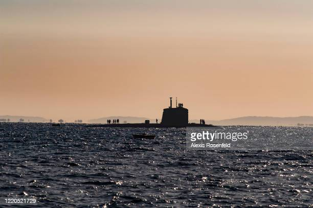 "The nuclear submarine attack ""Saphir"" is on the surface during training exercises on March 12, 2009 in Toulon bay, France, Mediterranean Sea. Saphir..."