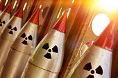 The nuclear warheads of a ballistic missile are aimed upwards for a nuclear strike.