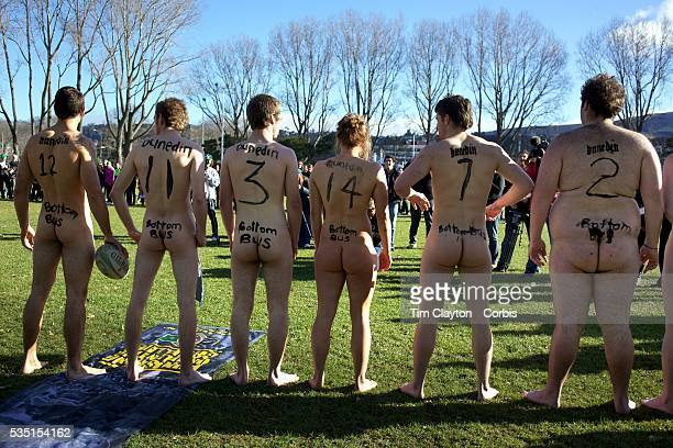 The 'Nude Blacks' line up before the start of the 'Nude Blacks' versus a Fijian invitation side played at Logan Park Dunedin as an unofficial curtain...