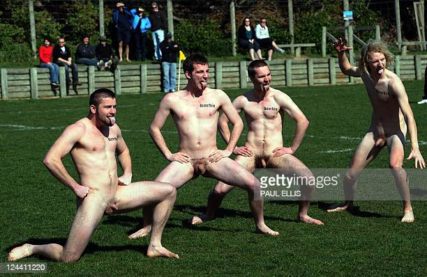 The Nude Blacks of New Zealand perform a haka before taking on the Spanish Conquistadores a female team from Barcelona in Dunedin on September 10...